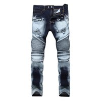 Wholesale Black Holes - Men Distressed Ripped Jeans Fashion Designer Straight Motorcycle Biker Jeans Causal Denim Pants Streetwear Style Runway Rock Star Jeans Cool