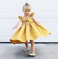 Ins bambini Summer Dress Bambini Bokwnot Ruffles Brace Gonna Dress Bambini Babies Girl Princess Abiti Giallo Rosa 13605