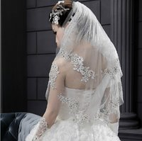 Wholesale Gold Lace Veils - Gorgeous Beautiful Wedding Veils from Eiffelbride with Embellished Shining Beaded Lace Applique Two Layers White Formal Bridal Veils