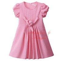 Wholesale Promotion Dress Girls - Pettigirl Promotion Girls Spring Dress With Bow Sash Dots Cute A-Line Kids Dress With Puff Sleeve Wholesale Clothing GD81030-242F