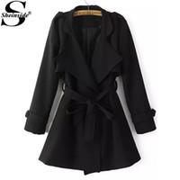 Wholesale Coat Tie Casual - Wholesale-Sheinside Winter Spring Korean Style Outerwears Women's High Street Casual Black Long Sleeve Lapel Epaulet Tie-waist Trench Coat