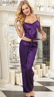 Wholesale Lycra Long Nightwear - New Sexy Lingerie Women Pajamas Sling Suit Comfort Satin Underwear Nightwear Strap Vest and Long Trouser Night Wear Sets