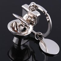 Wholesale Bathroom Keychains - Silver Plated Toilet Key Ring Mini Chain Classic 3D Keychain Bathroom Cute Creative Gift trinket 10pcs lot Christmas Gift