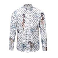 Wholesale Tiger 3d - newest 2017 fashion Wave Of Men 3D Floral Tiger Print Colour Mixture Luxury Casual Harajuku Shirts Long sleeve Men's Medusa Shirts M--2XL