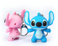 Wholesale Pink Stitch Toys - GIRLFRIEND TALKING Cartoon lilo & stitch LED KEYCHAIN FLASHLIGHT TOY PENDANT keyring key chain ring torch sound Cartoon Voice Lighting