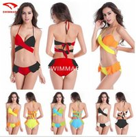 Damen Swim Wrap Hottie Halter Push up Bikini Set Dichroic Cross Bikini Super Poly Brust Hard Cup Mit Stahl Ring Bademode DM067