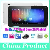 Wholesale Green 7inch Tablets - 7inch A23 86V Dual Core 2G Phone Call Tablet PC 512M 4GB Androil 4.2 Dual Camera Touch Screen Bluetooth 7 Colors DHL Fast Shipping 002500