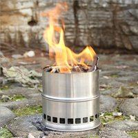 Wholesale Outdoor Camping Cooking - Portable Stainless Steel Lightweight Wood Stove Solidified Alcohol Stove Outdoor Cooking Picnic BBQ Camping H11756