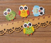 Wholesale Wooden Owl Buttons - 2016 Multicolor 200pcs 2 Holes Mixed color Nighthawk Owl Wooden decorative Buttons Fit Sewing Scrapbooking Crafts WB-02 Garment Accessories