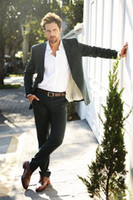 Wholesale Cheap Black Pants For Sale - 2015 Hot Sale Olive Green Formal Mens Suit For Wedding Slim Fit Handsome Groom Tuxedos Exquisite Bridegroom Suit (Jacket+Pants) Cheap