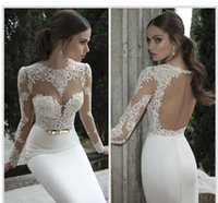 Wholesale Long Sexy Satin Dresses - Only 59$ 2017 new Berta Bridal Mermaid Wedding Dresses Jewel Neck Poet Long Sleeve Illusion Sheer Appliques Lace Backless Back Formal Gowns