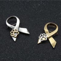 broches de gato do ouro venda por atacado-Moda Ouro Prata Paw Print Animal Crueldade Consciência Fita Broche Pin Cat Dog Pins