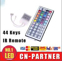 Wholesale Led Light Strip Coloured - x50pcs DHL ship DC 12V 44 Keys IR Remote RGB Mini Controller Dimmer for smd 5050 3528 led Strips Lights 7 colour module