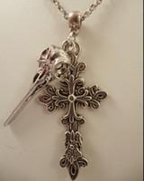 Wholesale Filigree Skulls - Brand Choker Vintage Silver Raven Skull Filigree Cross Charms Chain Statement Collar Necklace& Pendants Jewelry Accessories 20pcs Q959