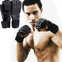 Wholesale Leather Winter Mitts - Hot Selling !!! Cool MMA Muay Thai Training Punching Bag Half Mitts Sparring Boxing Gloves Free Shippng CL00755