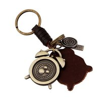 Wholesale Trendy Clocks - New Arrival Men Key chain Car KeyChain Real Leather Men Chain Metal Alloy Clock Men Gift key holder hot Jewelry Gift