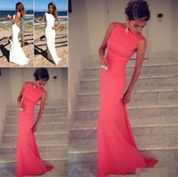 Wholesale Two Piece Beach Wear - 2015 Coral Prom Dresses Vintage Bateau High Neck Backless Evening Dresses Long Coral Dress Fitted Beach Maxi Dresses Cheap Prom Dresses
