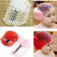 Wholesale Headbands Hair Nets - New 3pcs lot Baby Girl Lace Flower Hair Net Headband Kids Toddler Princess Style Beauty Headwear