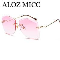 Wholesale marines women - ALOZ MICC Luxury Rimless Sunglasses Women Vintage Metal Big Frame Lady Sun Glasses Fashion Marine Lens Eyeglasses A412