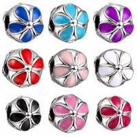 Wholesale Charm Stops - Fashion European Charms Flower Stop Safety Beads Big Hole Loose Beads charm For DIY Jewelry Bracelet For European Bracelets SF30
