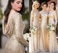mantos de dama de honor al por mayor-Sorella Vita Sparkly Champagne Lentejuelas Vestidos de dama de honor con manga larga 2020 Talla grande Volver Vestido de dama de honor