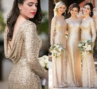 Wholesale Vita Sleeve - Sorella Vita Sparkly Champagne Sequins Bridesmaid Dresses with Long Sleeve 2018 Plus Size Cloak Back Maid of Honor Wedding Guest Dress Cheap