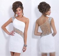 Wholesale Strap Sequin White Prom Dress - 2017 Cheap In Stock Homecoming Dresses 2016 White One Shoulder Sheer Beaded Sequins Short Party Dresses Sexy Mini Prom Gowns