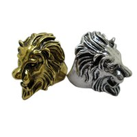 Wholesale Cheap Head Ring - Hot Selling Lion Head Shaped Unique Rings Noble Cheap Wedding Rings for Men Vintage Engagement Rings New Arrival