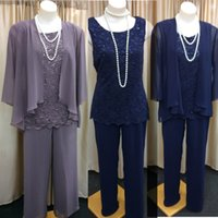Wholesale Long Sleeve Sequins Actual - Actual Image Chiffon Lace Plus Size Mother Of The Bride Pant Suits With Jewel Neck Long Sleeves Mother Formal Evening Wedding Gown Custom