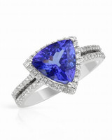 Wholesale Trillion Diamond Rings - Free Shipping Solid 14k White Gold Violet Blue Trillion Tanzanite Engagement Diamond Ring(R0033)