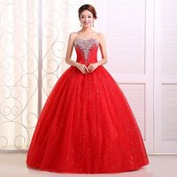 Wholesale Halter Style Wedding Ball Gowns - White and Red Ball Gown Dress New 2015 hot fashion girl princess brand bridal dress sexy lace up apparel the style formal wedding dresses