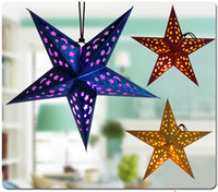 Wholesale Star Lanterns Wholesale - Party Pentagram Lampshade Lantern Hanging decor Star Topper Ornaments party