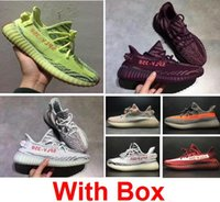 Wholesale Gray Canvas Fabric - Boost 350 V2 Semi Frozen Yellow Grey Blue Tint Zebra Red night Red Gray Beluga 2.0 Wholesale Running Shoes With Box