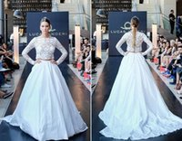 Wholesale China Gowns Online - 2016 Bohemian Wedding Dresses Bateau Lace Illusion Bodice Two Pieces White Long Sleeves Taffeta Vintage Bridal Gowns China Shopping Online