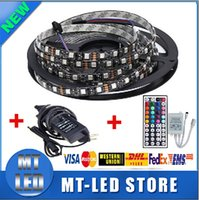 Wholesale 12v Power Pcb - Factory direct Waterproof 5050 RGB Black PCB 60led m 5M 300 LED SMD IP65 DC 12V Flexible Light Strip+44key+12v 5A power via DHL