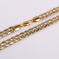 Wholesale classic k ct yellow and white gold filled curb link necklace tone men s collar jewelry inches mm