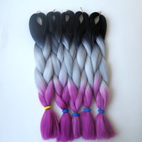 Wholesale ombre braiding hair extensions online - Synthetic Jumbo Braiding hair folded lenght inch g Black Gray Fuschia Ombre three tone color Kanekalon hair extensions hot sale