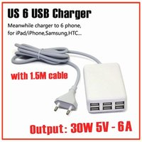 Wholesale usa free phone online - W V A Ports USB Wall Charger Universal Mobile Phone AC Power Adapter With M Cable for iphone Samsung USA plug Charger