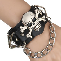 Wholesale Leather Steampunk Bracelets - Leather Bracelet punk rock street dance hyperbole skulls scalp Bracelet