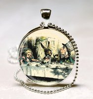 Wholesale Alice Wonderland Tea - Alice In Wonderland Jewelry A Mad Tea Party Mad Hatter March Hare Fairy Tale Art Pendant with Ball Chain Necklace