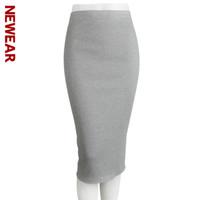 Wholesale Women Wholesale Slit Skirt - Wholesale- NEWEAR 2017 Autumn And Winter Package Hip Skirt Women Slit Step Stretch Female Slim Thin Waist Long Skirts Solid Color Skirt