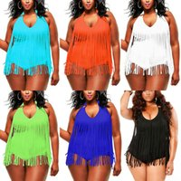 One Piece sexy plus size swimwear - Plus Size One piece Tassels Swimwear Sexy V neck Women Swimsuit Padded Boho Fringe Big size Bathing Suit Colors