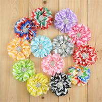 "Wholesale Chevron Flowers For Headband - 2.5"" chiffon chevron flower with Starburst Button New Fashion Ballerina Flowers for baby headband 13colors for choice 65pcs"