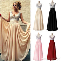 Wholesale V Top Dresses - 2017 Cheap Prom Dresses IN STOCK Sequins Top A Line Floor Length Burgundy Pink Champagne Black Formal Evening Gowns Custom