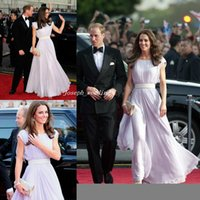 Wholesale Kate Middleton Purple Dress - Free Shipping Prom Dresses Custom Made Kate Middleton Red Carpet A Line Bateau Sashes Long Simple Chiffon Evening Dresses
