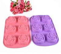 Wholesale Silicone Chocolate Molds Wholesale - Popular Series Silicone Rose Chocolate Molds Jelly Ice Molds Fashion Cake Mould Hotselling Bakeware 26*16.5*3CM