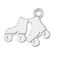 Wholesale Roller Skate Charms - High Quality Zinc Alloy Antique Silver and Gold Plated Floating Roller Skates Sports Shoes Charms Jewelry