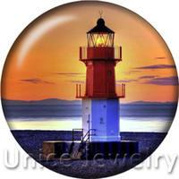 Wholesale Lighthouse Charms - AD1301289 18mm 14 Colors Snap On Charms for Bracelet Necklace Hot Sale DIY Findings Glass Snap Buttons Lighthouse Series Design noosa
