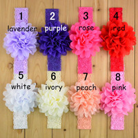 Wholesale Lace Hair Flowers - Baby lace Flower Hair band 16 color silk Hair rope band knitted elastic headband Head Bands baby Hair band B001