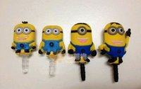 Wholesale-50pcs / lot, 3D Despicable Me Cartoon Style 3.5 MM para auriculares Jack Plug / Anti-enchufe del polvo para el iphone 5 / teléfono móvil con el embalaje al por menor
